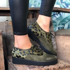 Daniela Ladies Ocelot Croc Print Olive Faux Pony Hair Shoe