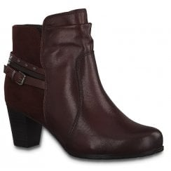 Jana Ladies Burgandy Ankle Boots