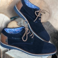Bugatti Mens Navy Suede Lace Up Shoes