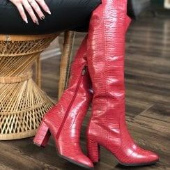 XTI Red Croc Long Heeled Boots
