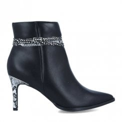 Menbur Womens Black Snake Heeled Boots