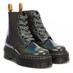 Dr Martens Womens Molly Prysm Vegan Gunmetal Grey Boots