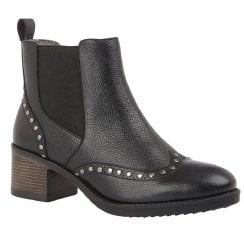 Lotus Lucinda Black Leather Studded Boots
