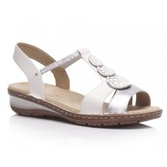 Ara Ladies White/Silver Embellished Sandals