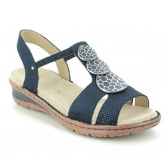 Ara Ladies Navy Embellished Sandals