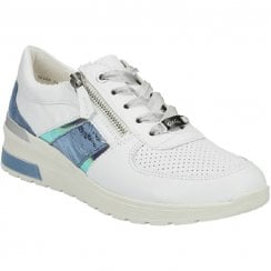 Ara Ladies White/Blue Halo Trainers