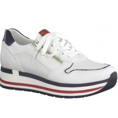 Marco Tozzi Ladies White Navy and Red Wedged Trainers