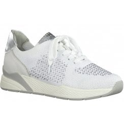 Marco Tozzi Ladies White Diamante Embellished Trainers