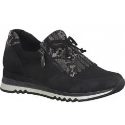 Marco Tozzi Ladies Black and Snake Print Wedged Trainers