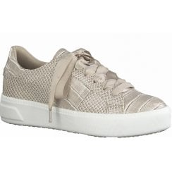 Tamaris Ladies Taupe Croc Print Trainers