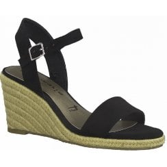 Tamaris Ladies Black Wedged Heel Sandal