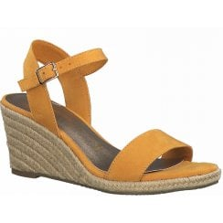 Tamaris Ladies Mango Orange Wedged Heel Sandal