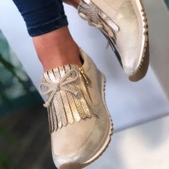 Marco Tozzi Ladies Beige Metallic Wedged Trainers