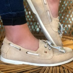 Tommy Hilfiger Ladies Beige Suede Boat Shoes