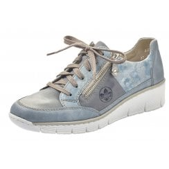 Rieker Ladies Blue Combination Wedged Trainers