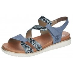 Rieker Ladies Blue and Snake Print Sandals