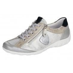 Remonte Ladies Grey and Silver Metallic Trainer