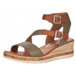 Remonte Ladies Forest Green Gladiator Wedged Sandals