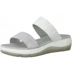 Marco Tozzi Ladies Light Grey Wedged Sandals