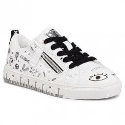 Xti Kids White Trainers with Drawings and Black Laces