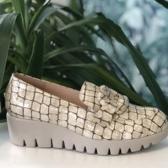 Wonders Wedge Loafer Shoes - Beige Croc