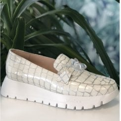 Wonders 2405 Off White Croc Chain Moccasin