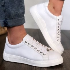 Unisa Franci White Leather Trainers