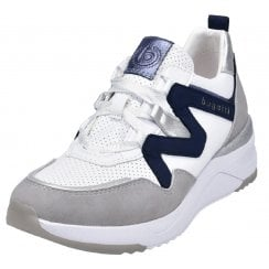Bugatti Ladies White with Navy Wedge Trainers