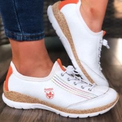 Rieker N42T0 White and Orange Toggle Lace Trainers