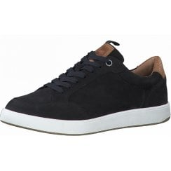 S Oliver Mens Navy Leather Lace-Up Trainers