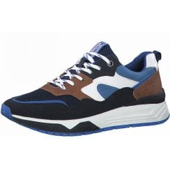 S Oliver Mens Navy and Brown Combination Trainer