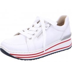 Ara Ladies Sapporo White Navy Red Striped Wedged Trainers