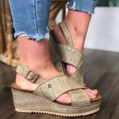 Refresh Ladies Taupe Wedge Woven Sandal