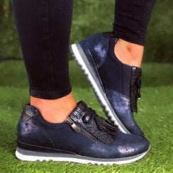 Marco Tozzi Ladies Navy and Snake Print Wedged Trainers