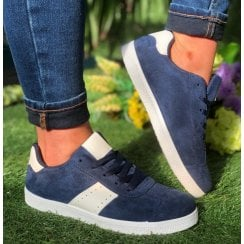 D.T New York Ladies Navy Suede Trainers