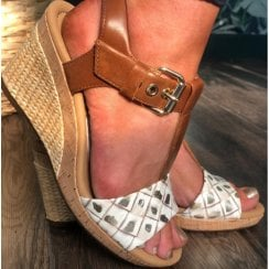 Gabor Ladies Brown and White Detailed Wedge Sandals