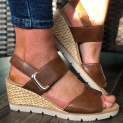Gabor Ladies Brown Leather Wedge Sandals