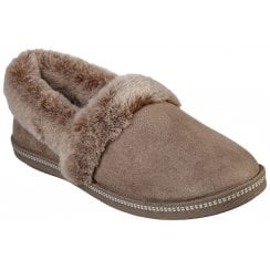 Skechers Ladies Cozy Campfire Taupe Faux Fur Trim Slippers
