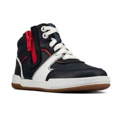 Clarks Kids Fawn Peak Navy Leather Trainers