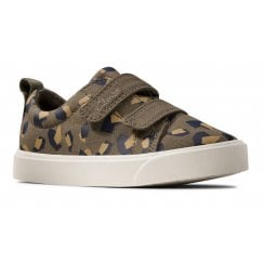Clarks Kids City Bright Olive and Camouflage Trainers