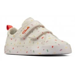 Clarks Infants Foxing Print Off White Trainers