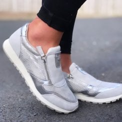 Susst Dizzy Grey Silver and Scale Print Zip Trainers