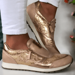 Susst Dizzy Rose Gold and Scale Print Zip Trainers