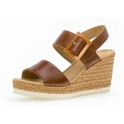 Gabor Ladies Brown Velcro Strap Wedge Sandals