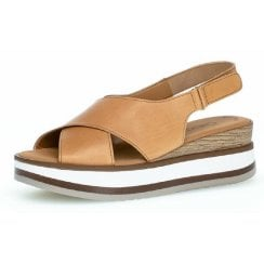 Gabor Ladies Light Tan Block Sandals