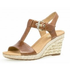 Gabor Ladies Brown High Wedge Sandals