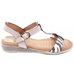 Susst Ladies Pink and Zebra Print Sandals
