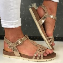 Tamaris Ladies Ivory Metallic Snake Print Sandal