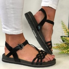 Tamaris Ladies Black Metallic Snake Print Sandal