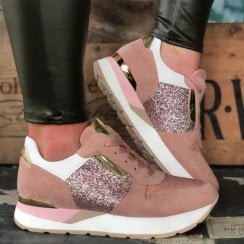 Una Healy Ladies Roses Taffy Pink Suede Glitter Trainer